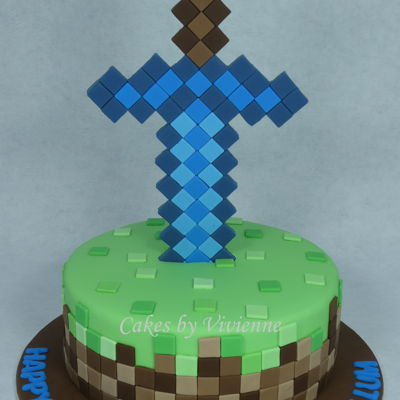 Diamond Sword Minecraft Cake