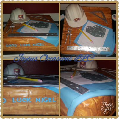 Engineer Themed Cake Double layer 16 x 16 square cake, hardhat made with wilton 6 inch ball pan, all other items fondant, picture of jeep is an edible image....