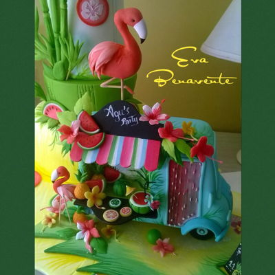 Flamingo Food Truck Cake