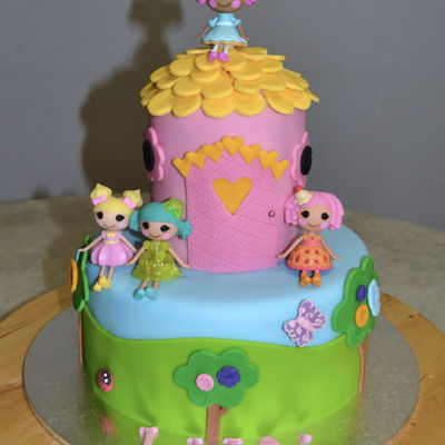 Lalaloopsy Chocolate Cake with Fondant and LalaLoopsy Figurines