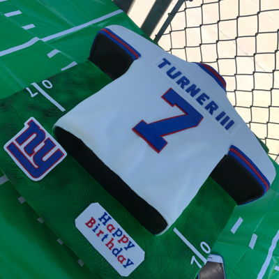 Ny Football Jersey Cake made for a cute little 7 year old