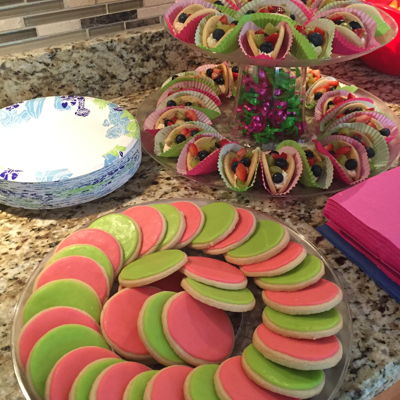Pink And Green Birthday Celebration Fruit tacos and no fail sugar cookies covered in pink and green rolled buttercream for my great niece and nephew's birthday :)