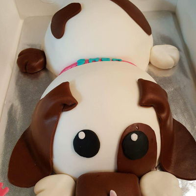 Puppy Dog Cake Fondant covered puppy with gum paste butterflies