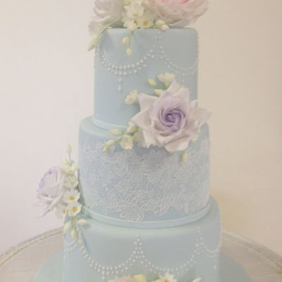 Something Blue......with Classic Vintage Lace And Pearls