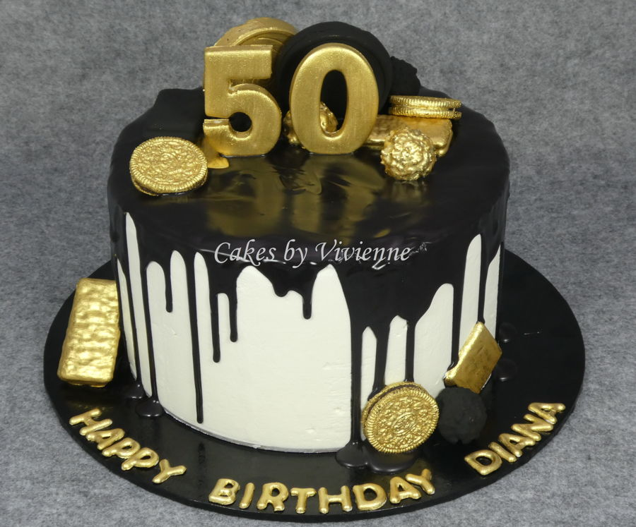Black And Gold 50Th Birthday Cake On Central