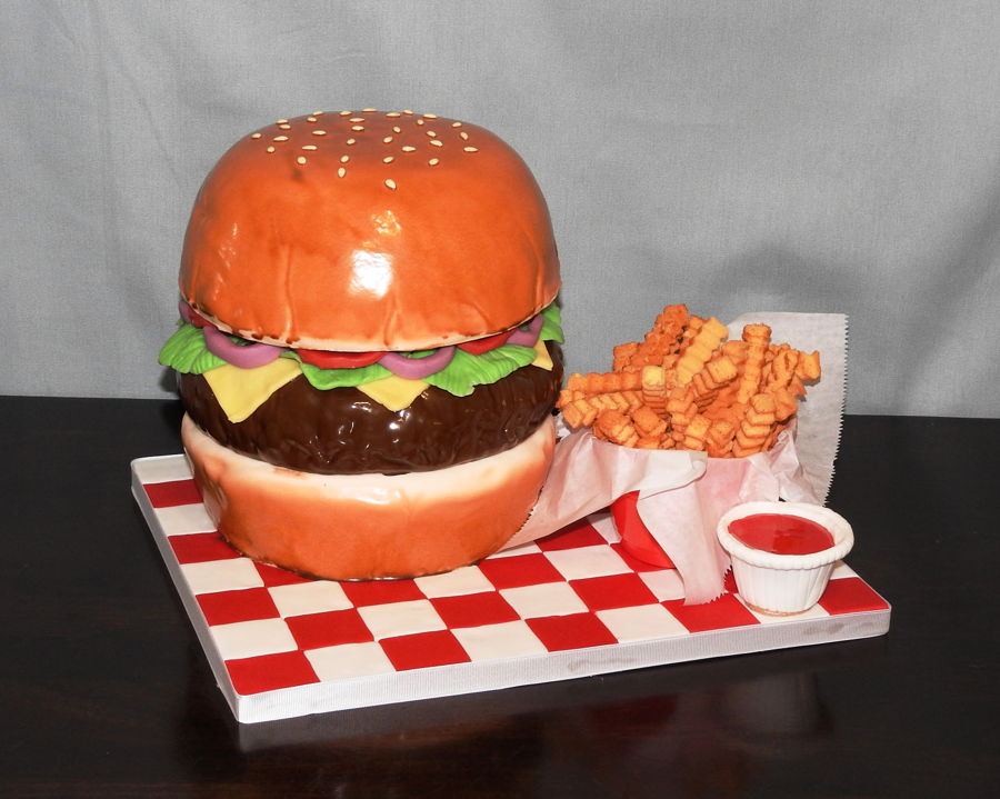 Cheeseburger And Fries on Cake Central