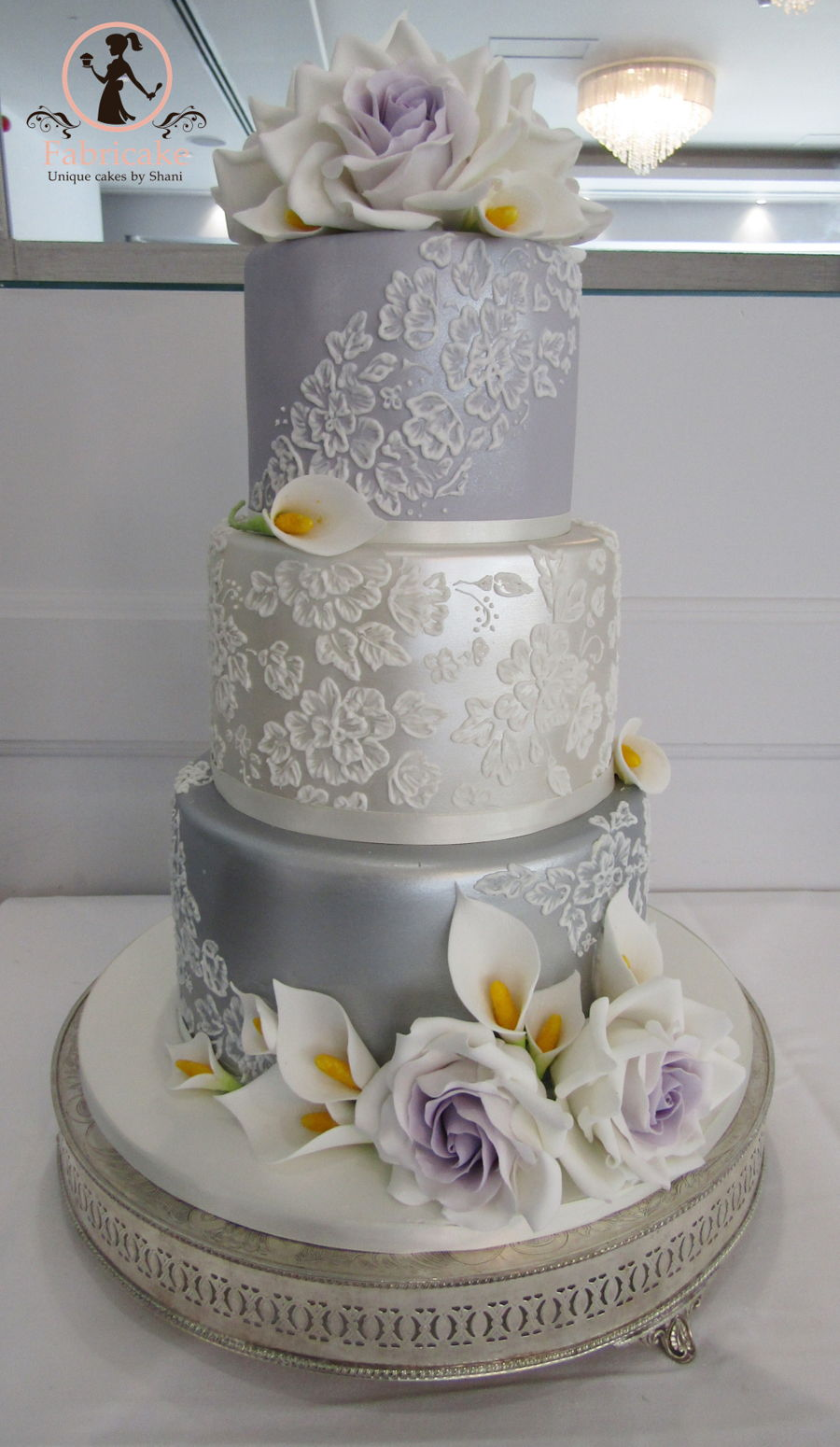 Metallic Brush Embroidery Wedding Cake Cakecentral Com