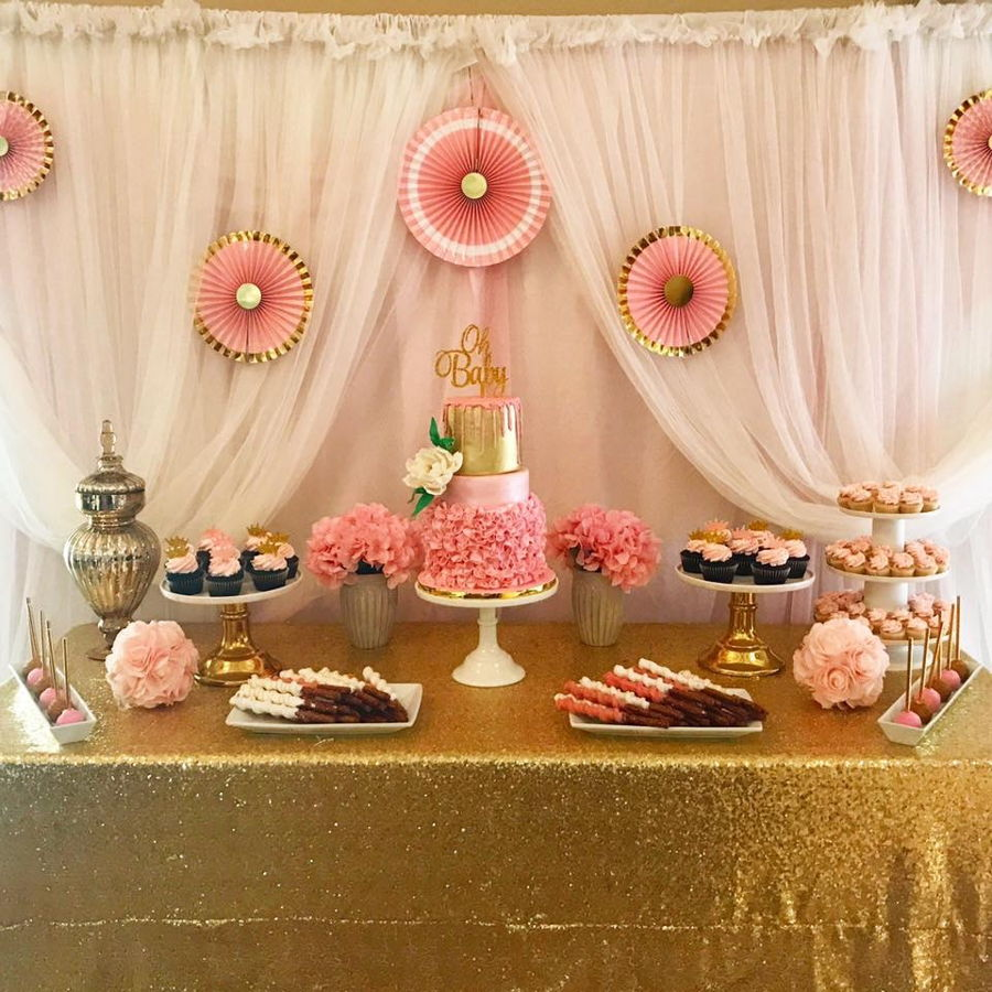 pink and gold baby shower - 900×900
