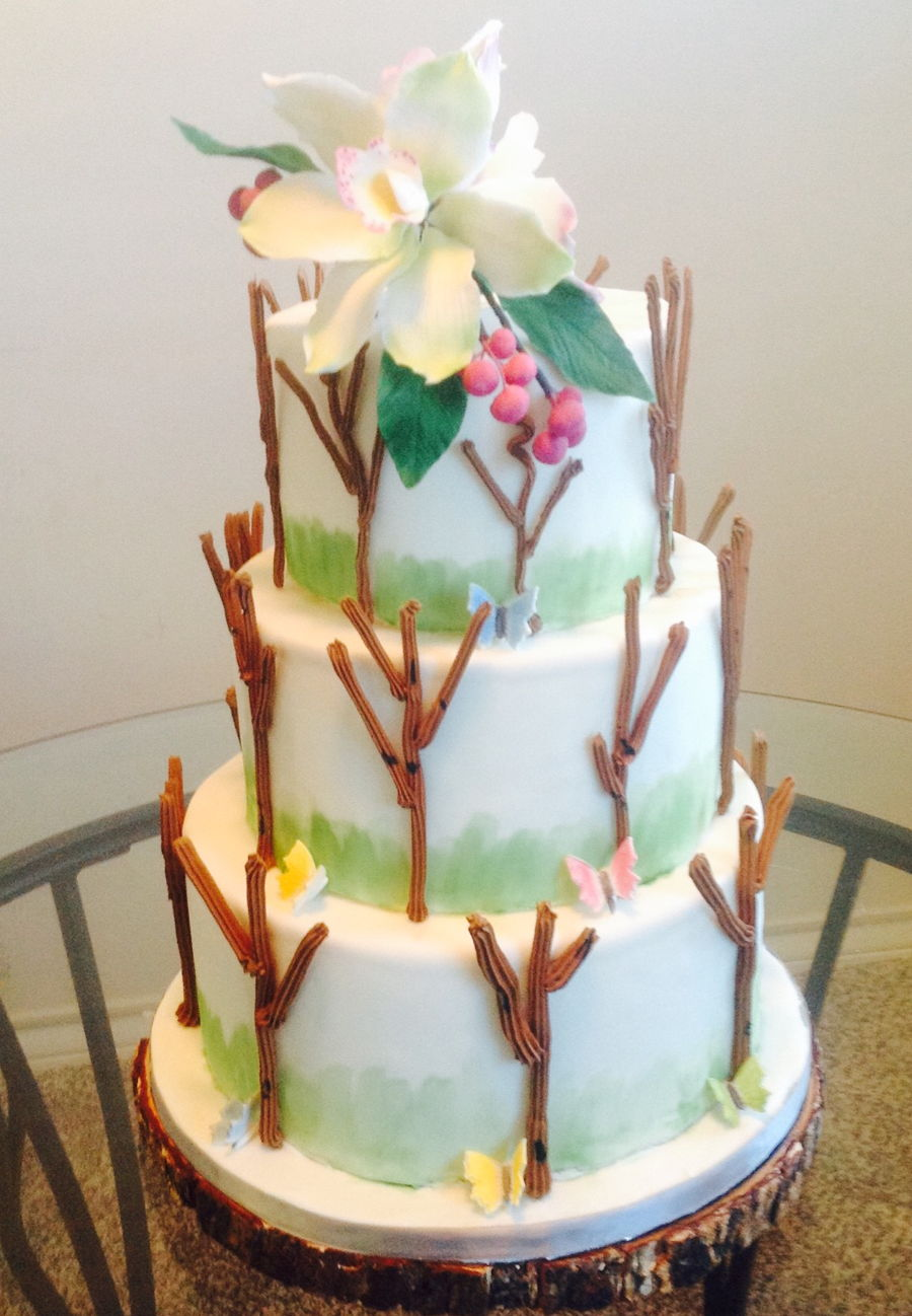 Simple Tree Wedding Cake on Cake Central