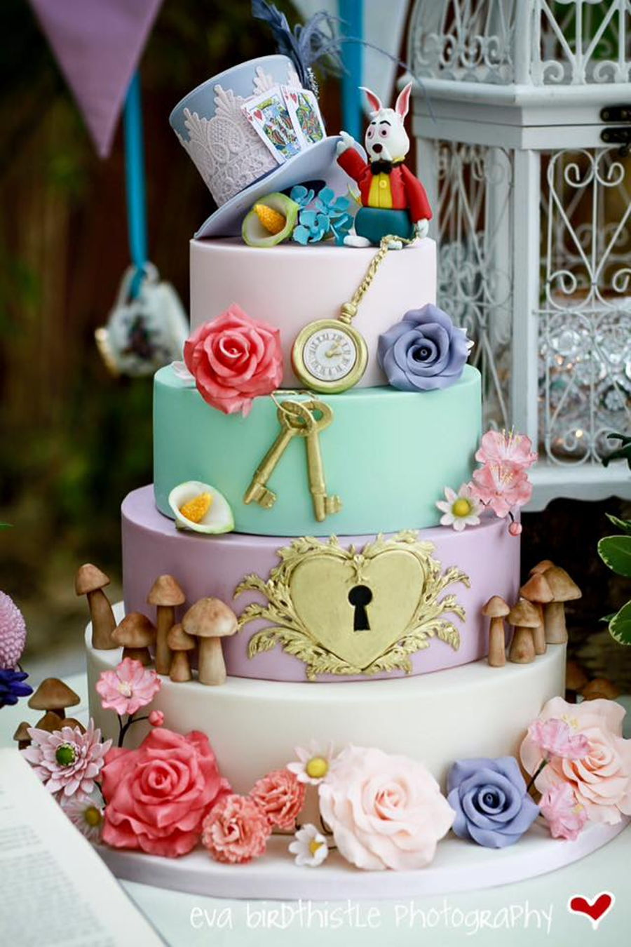 Whimsical Mad Hatters Tea Party Wedding Cake - CakeCentral.com
