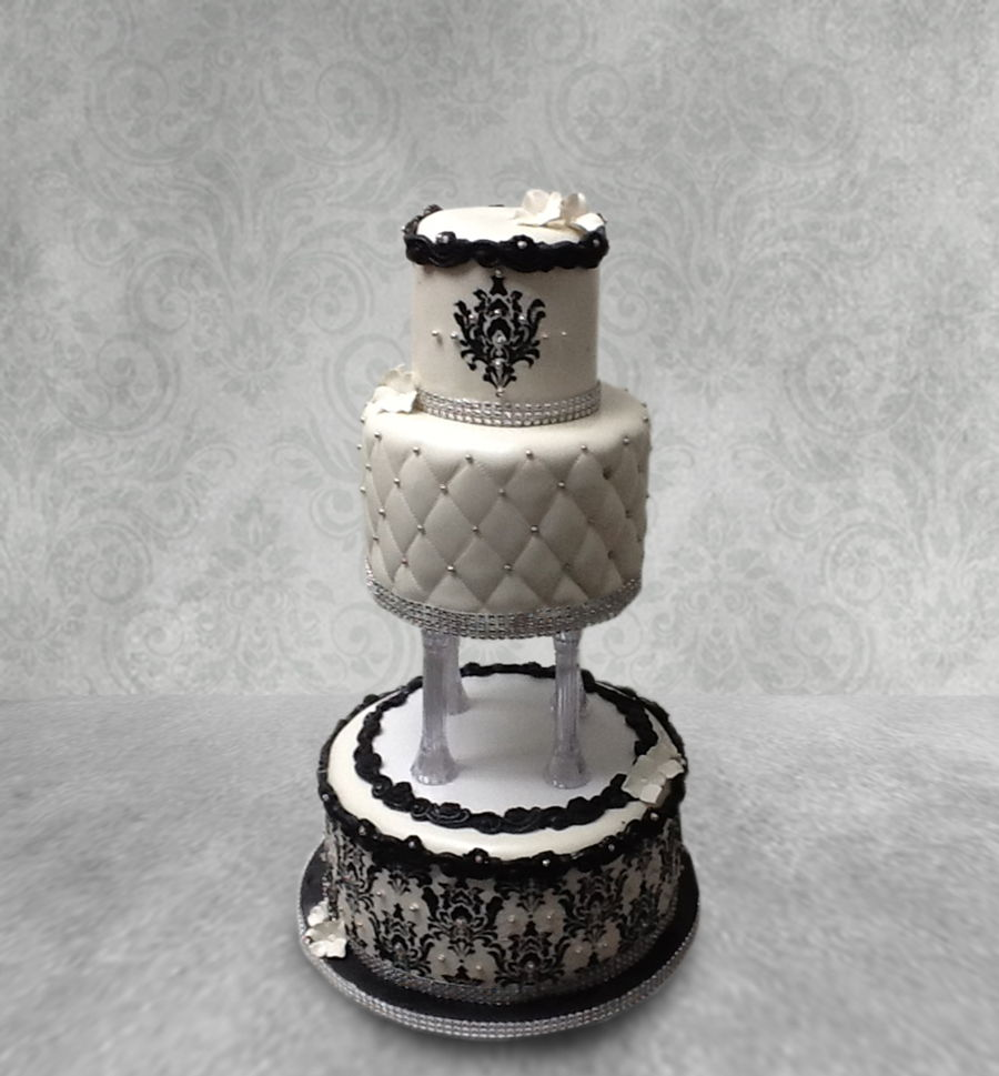 White With Black Stencil Accents on Cake Central