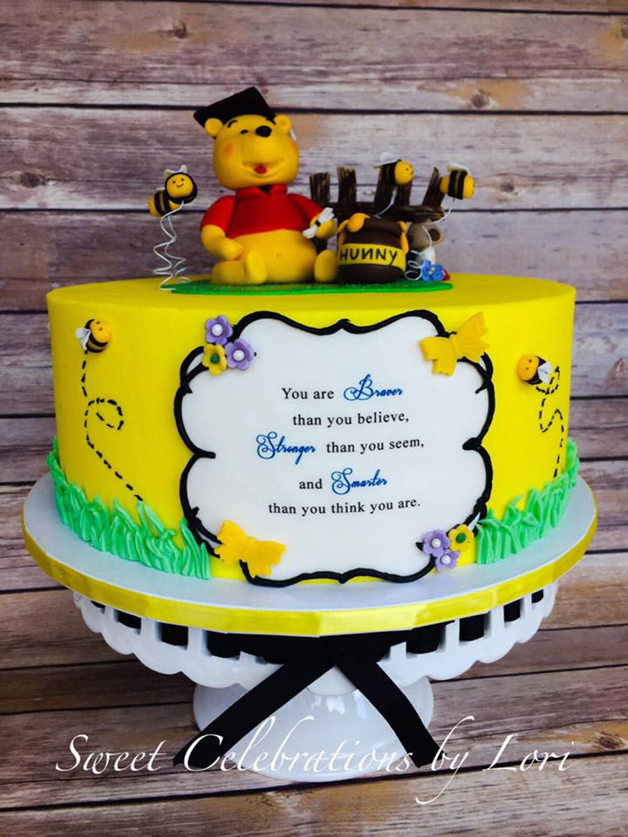 Winnie The Pooh Graduation Cake Cakecentralcom