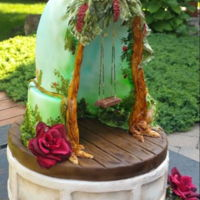 Abandoned Garden I made this for an art student. Everything is edible.#puccicakesco #birthdaycake #abandonedgarden #swingacake #handpaintcake #airbrushcake...