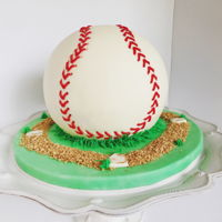 Batter Up 3D Baseball.Fondant cover and stitches.
