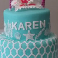 Karen's Beach Birthday Party Cake lace and mat used for netting & other décor!