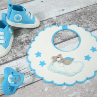 Bib, Dummy And Converse Shoes Out Of Fondant For A Christening Cake Hi Everyone!Christening is one of the most important moments for so many reasons and every parent on this special day want everything to be...
