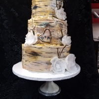 Birch Wedding Cake 3 tier rustic birch wedding cake