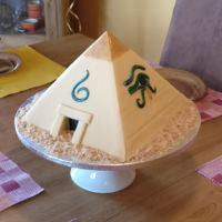 Birthday Cake For A 6-Year-Old Pharaoh My son is fascinated by ancient Egypt and requested that as his birthday theme this year - of course I delivered with a pyramid cake....