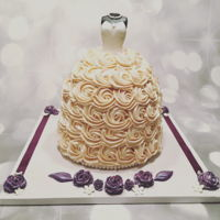 Bridal Blessings Bridal shower cake made of buttercream rosettes and fondant bodice