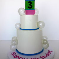 Bubbles Cake Bubbles cake for a 3rd birthday. Bubbles bottle and Happy Birthday cut with my Cricut. The bottle is fondant, the Happy Birthday is vinyl...