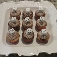 Bunko Mini Cupcakes Marbled cupcakes with chocolate buttercream and dice of fondant.