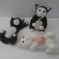 Cuddly Cats cats made from modelling paste