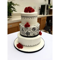 Elizabethan Embroidery Cake A hand-painted, three-tier cake for a 30th wedding anniversary party. The pattern is inspired by Elizabethan blackwork embroidery, and the...