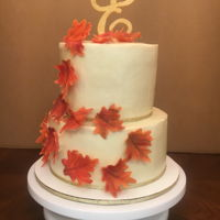 Fall Wedding Cake Butter pecan with brown sugar buttercream. Covered in butter pecan ganache.