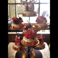 Gumpaste Toppers For Seven Wedding Cakes! Yes, the mother of the bride decided to use a stand with 7 shelves, each holding a cake. I made 6 toppers covered with the fall colored...