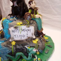 How To Train A Dragon Birthdaycake vermicelles cake at the top, the ground vanilla cream with nuts biscuit