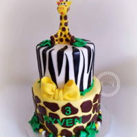 Jungle Safari Birthday Cake 6''+8'' vanilla cake