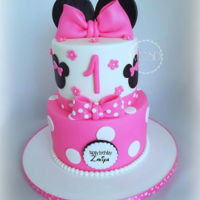 Minnie Mouse 1St Birthday Cake 6''+8'' Vanilla cake