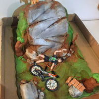 Mountain Biking Cake Cake for a friend to replicate a particular rock on a nearby trail.12 inch and 9 inch cakes carved into the hill shape. Hard to get 26 inch...