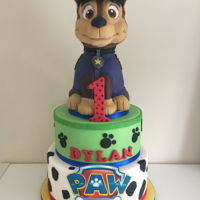 "Paw Patrol Chase Cake Chase made from rkt and chocolate mud cake 8 & 10"" tiers"