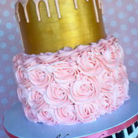 Pink/gold 2 Tier Cake Bridal Shower Cake. Pink rosettes with gold and pink drip.