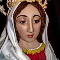 Regina Sanctissimi Rosarii Wedding cake in honor of Our Lady of the Rosary. The occasion was the Solemn Profession of two young Benedictine nuns. Image of The Blessed...