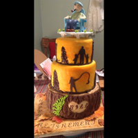 Retirement Party Cake For Outdoorsy Man Three tiered fondant covered cake with silhouettes and custom topper. Bottom made with a silicone bark mould (best purchase ever!). Top...