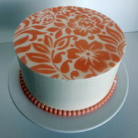Round Floral Stencil Top stenciled with airbrush. This was my birthday cake. :-)