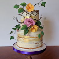 Semi Naked Cake With Fall Sugarflowers This is a birthday cake for a 52 year old mom and her 25 year old daughter. I wired and taped a 52 and a mirrored 25 out of floral wire and...