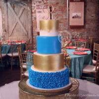 Sky Blue And Gold Wedding Cake Chocolate CakeVanilla Cake6''+8''+10''+12''