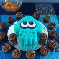 Splatoon Cake Splatoon-themed birthday cake, at the request of my grandson. Orange creamsickle cake (also his request) filled with orange buttercream,...