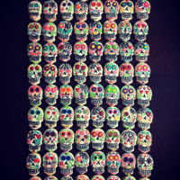 Sugar Skull Day Of The Dead Cut Out Cookies Cream Cheese cut-outs with Royal Icing