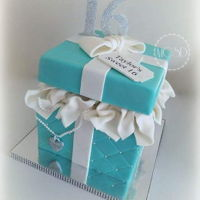 Tiffany & Co. Gift Box Cake 8''x 8'' vanilla cake