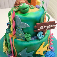 Under The Sea 1st Birthday cake - under the sea themed. All fondant.