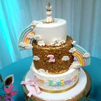 Unicorn Gold Cake Unicorn cake for a birthday girl