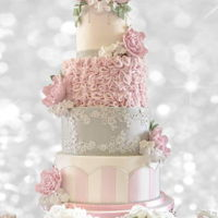 Vintage Themed Wedding Cake 4 tiered cake. Sugar flowers.