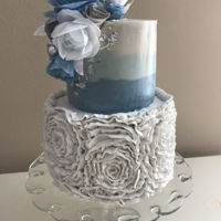 Wafer Paper Rose Blue Ombré Cake This cake had a lot of firsts for me. It was my first time making wafer paper flowers. It was my first time using swiss meringue...