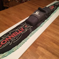 Waterski Waterski cake, 4.5 feet long, fondant & buttercream.