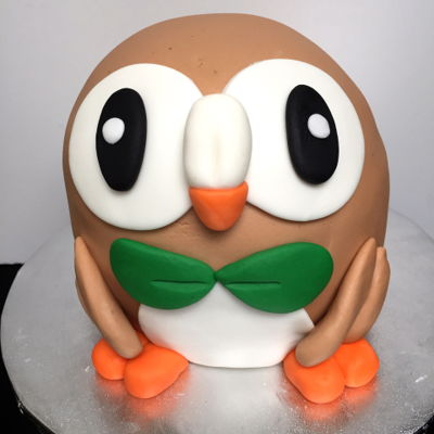 3D Rowlet Cake And Cupcakes