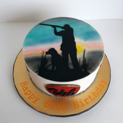 Bird Hunter Cake Birthday cake for my husband who is a bird hunting/bird dog enthusiast.